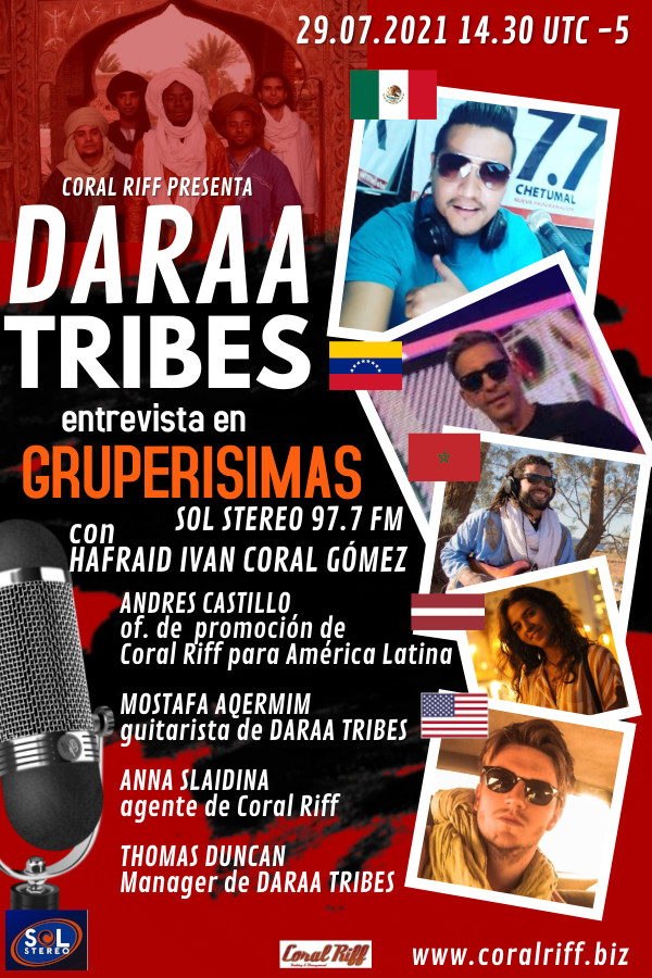 Daraa Tribes Sol Stereo DARAA TRIBES on GRUPERISIMAS, Sol Stereo 97.7 (MX) 29/07/2021, 14:30 UTC-5
